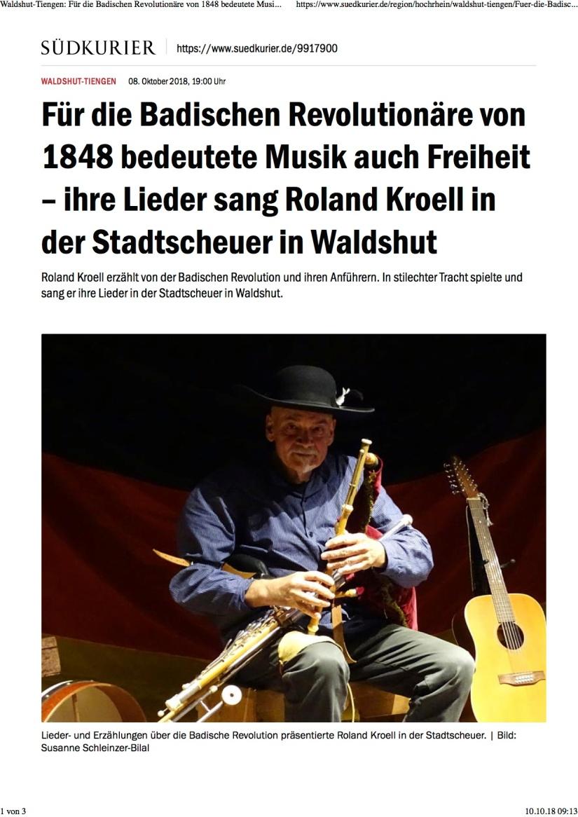 Waldshut-Tiengen: Für die Badischen Revolutionäre von 1848 bedeutete Musik auch Freiheit – ihre Lieder sang Roland Kroell in der Stadtscheuer in Waldshut | SÜDKURIER Online