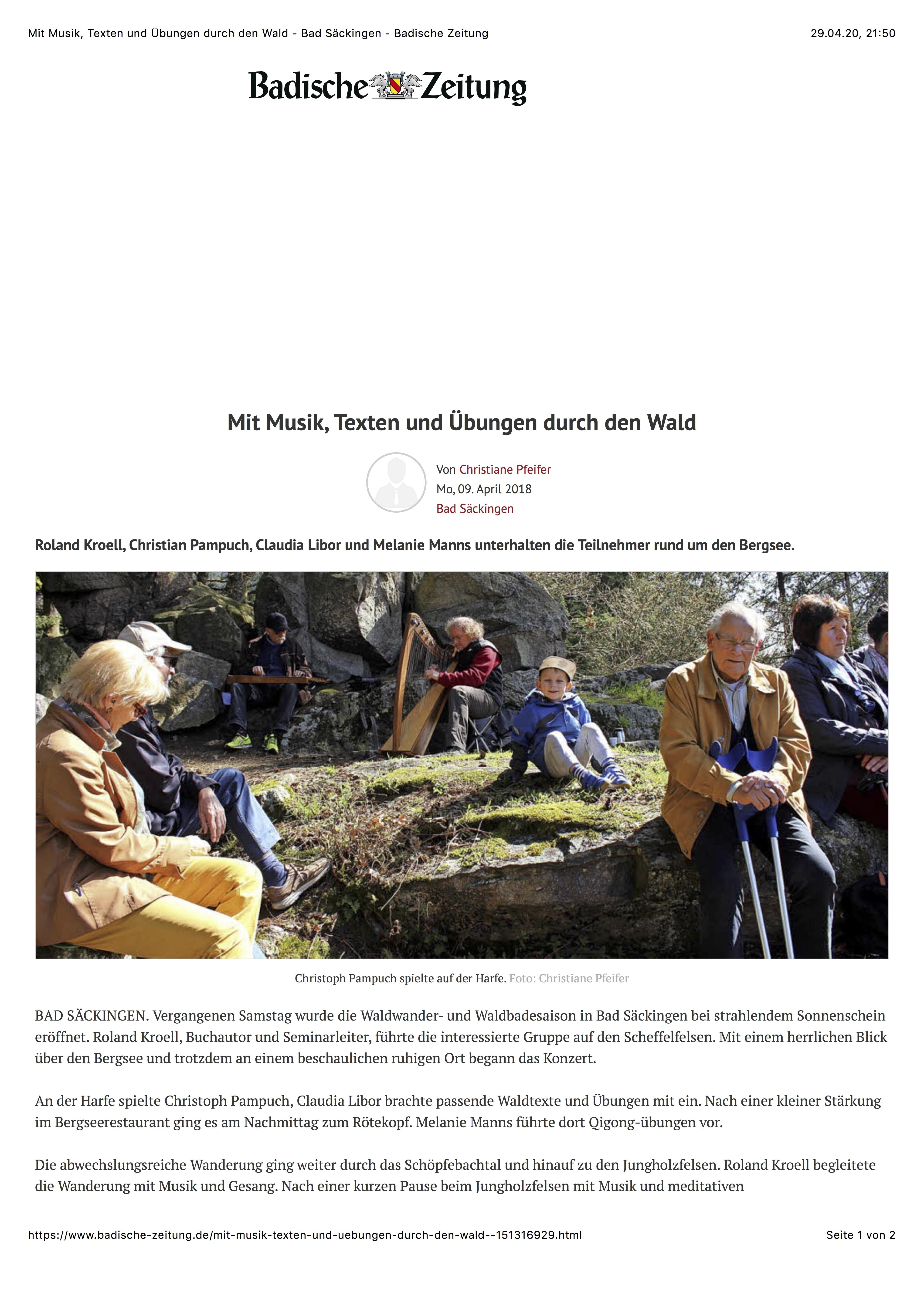 Mit Musik, Texten und Übungen durch den Wald - Bad Säckingen - Badische Zeitung